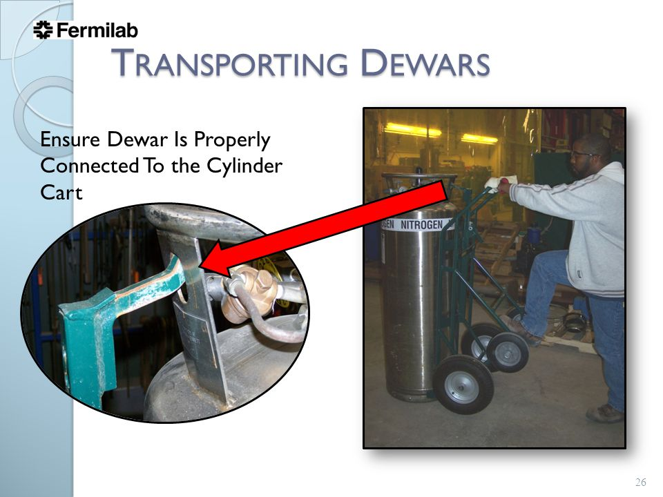Ensure Dewar Is Properly Connected To the Cylinder Cart T RANSPORTING D EWARS 26