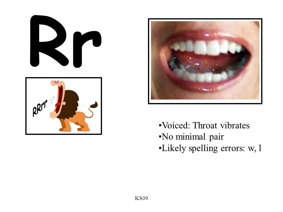 KS09 Rr Voiced: Throat vibrates No minimal pair Likely spelling errors: w, l