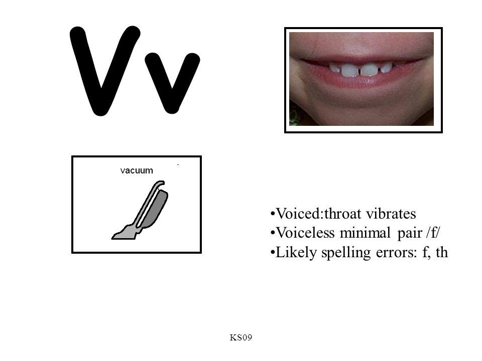 KS09 Vv Voiced:throat vibrates Voiceless minimal pair /f/ Likely spelling errors: f, th