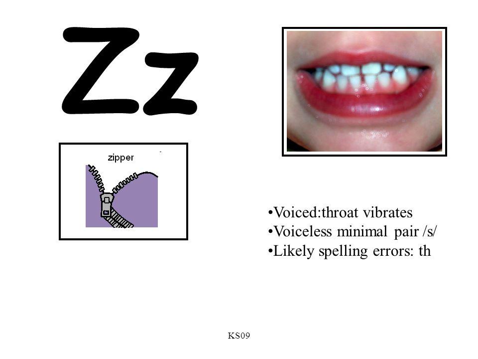 KS09 Zz Voiced:throat vibrates Voiceless minimal pair /s/ Likely spelling errors: th