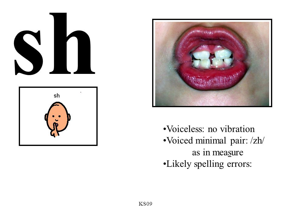 KS09 sh Voiceless: no vibration Voiced minimal pair: /zh/ as in measure Likely spelling errors: