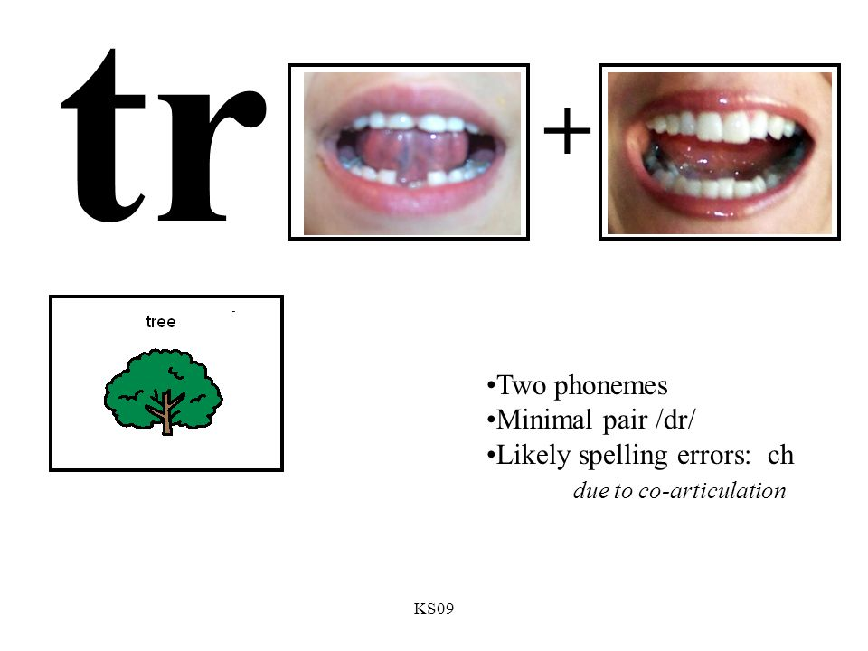 KS09 tr + Two phonemes Minimal pair /dr/ Likely spelling errors: ch due to co-articulation