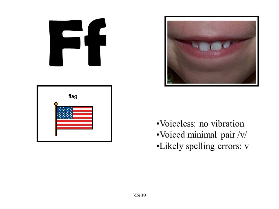 KS09 Ff Voiceless: no vibration Voiced minimal pair /v/ Likely spelling errors: v