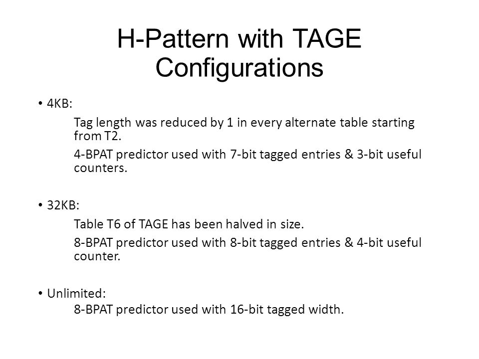 H-Pattern with TAGE Configurations 4KB: Tag length was reduced by 1 in every alternate table starting from T2. 4-BPAT predictor used with 7-bit tagged