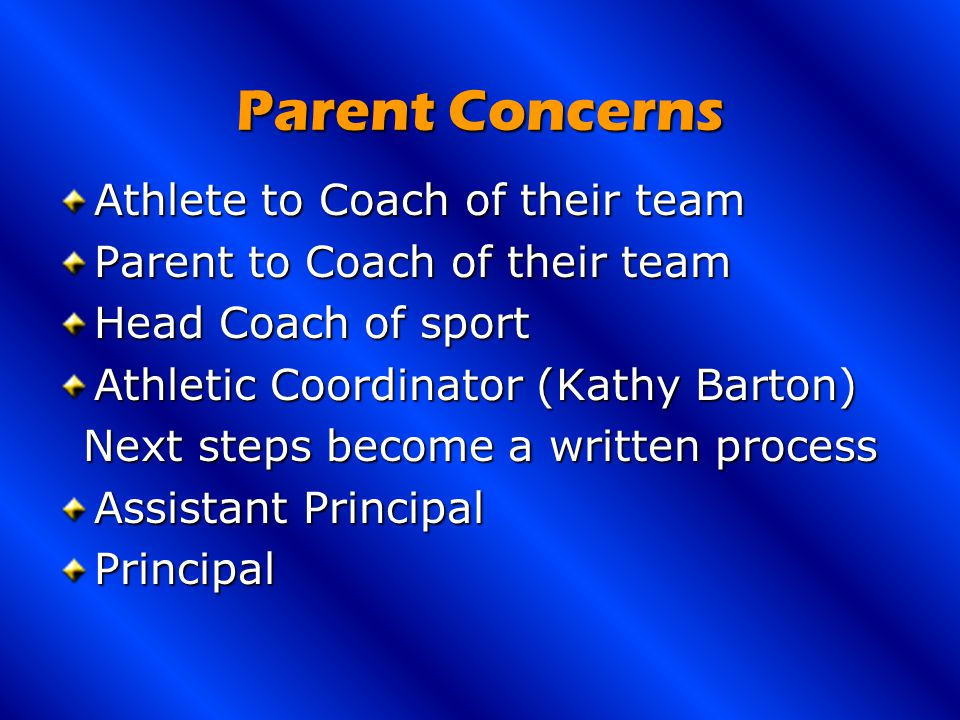 Parent Concerns Athlete to Coach of their team Parent to Coach of their team Head Coach of sport Athletic Coordinator (Kathy Barton) Next steps become a written process Assistant Principal Principal