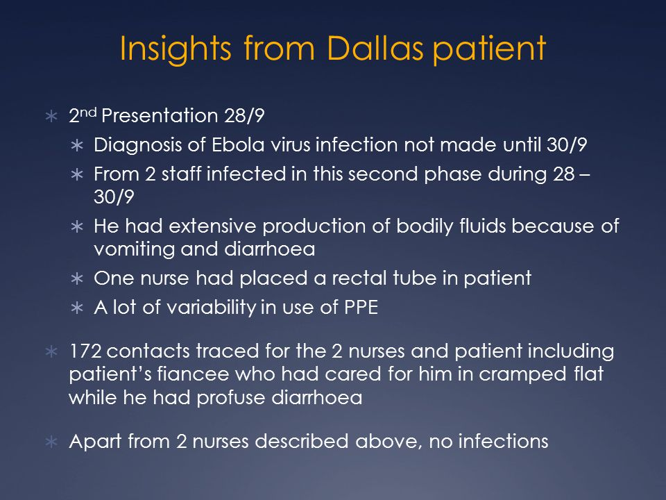 Insights from Dallas patient  2 nd Presentation 28/9  Diagnosis of Ebola virus infection not made until 30/9  From 2 staff infected in this second