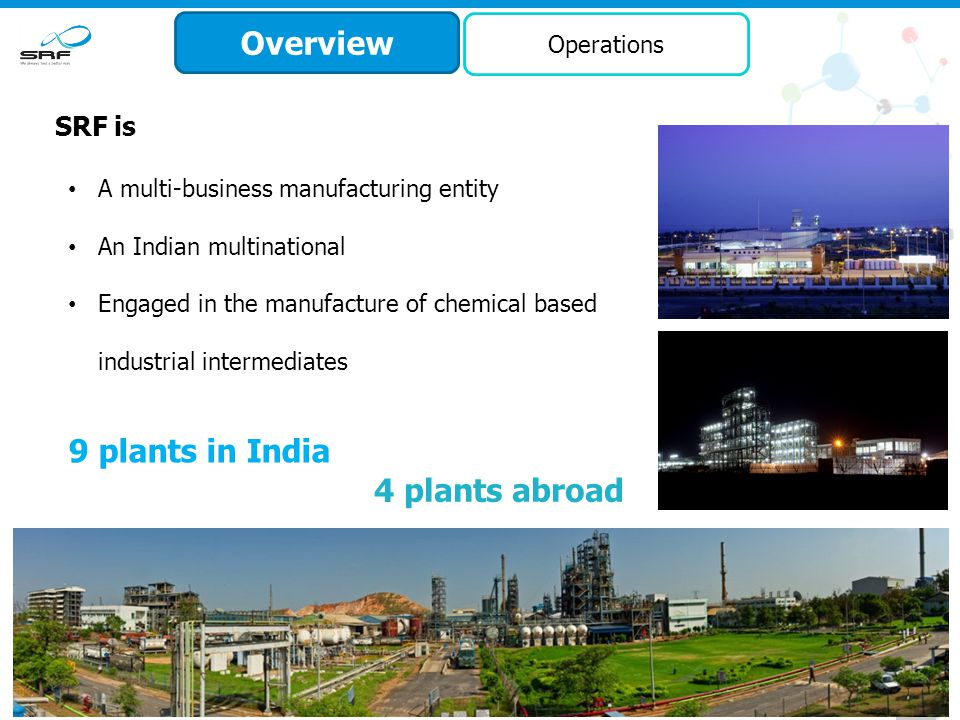 7 Overview Business Leadership SRF has been one of the early players in India to enter: Nylon tyre cord fabrics Belting fabrics Coated fabrics Refrigerants Engineering plastics First and the only company in India so far to have developed technology to manufacture R-134a, an ozone friendly refrigerant The only manufacturer of polyester tyre cord fabrics in India Specialty chemicals