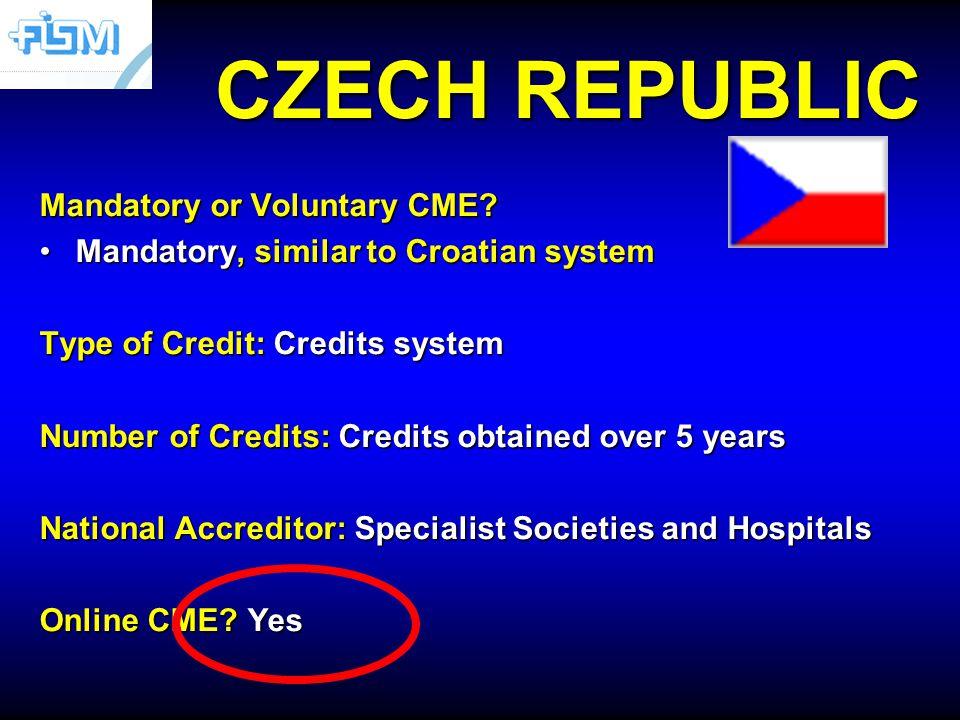 CZECH REPUBLIC Mandatory or Voluntary CME.