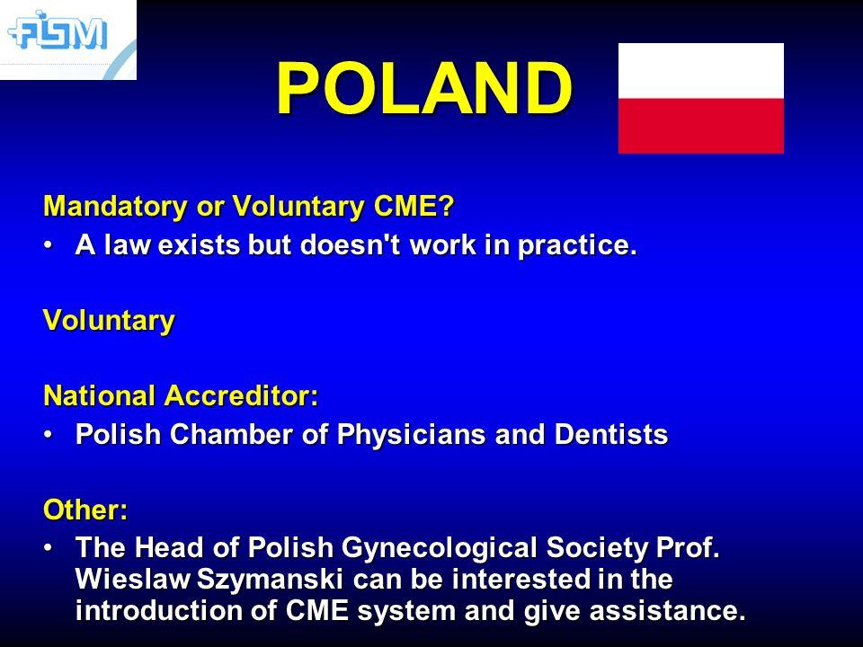 POLAND Mandatory or Voluntary CME.