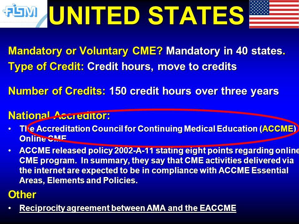 UNITED STATES Mandatory or Voluntary CME. Mandatory in 40 states.