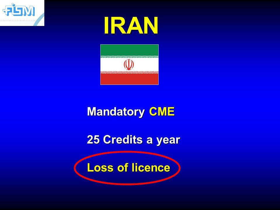 IRAN Mandatory CME 25 Credits a year Loss of licence