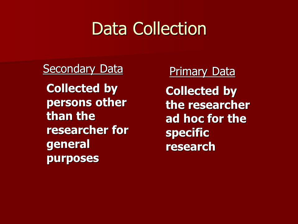 Secondary Data Collected by persons other than the researcher for general purposes Primary Data Collected by the researcher ad hoc for the specific research Data Collection