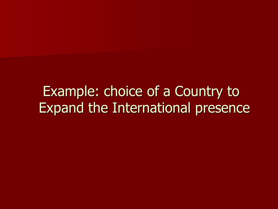 Example: choice of a Country to Expand the International presence Example: choice of a Country to Expand the International presence