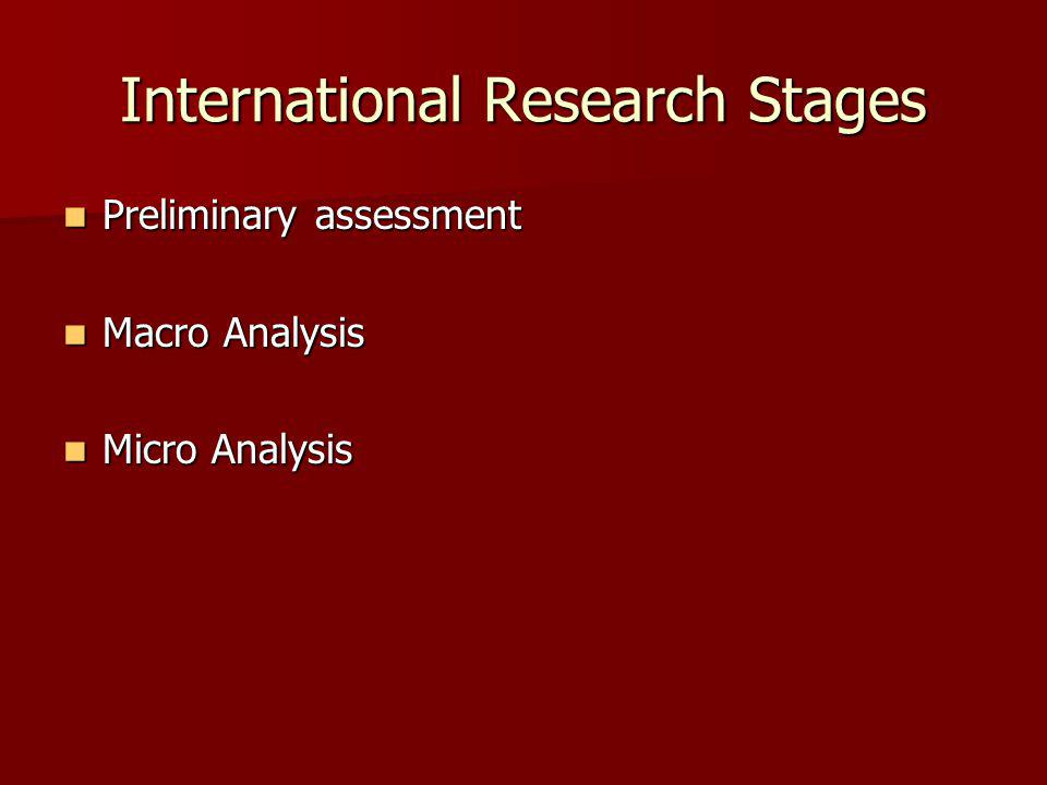 International Research Stages Preliminary assessment Preliminary assessment Macro Analysis Macro Analysis Micro Analysis Micro Analysis