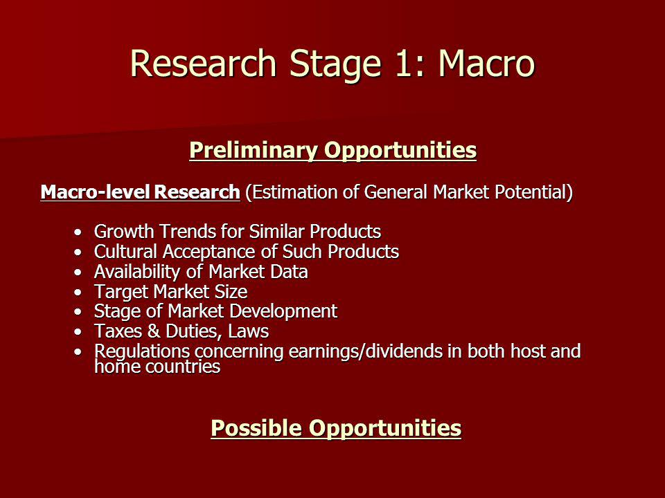 Research Stage 1: Macro Preliminary Opportunities Macro-level Research (Estimation of General Market Potential) Growth Trends for Similar ProductsGrowth Trends for Similar Products Cultural Acceptance of Such ProductsCultural Acceptance of Such Products Availability of Market DataAvailability of Market Data Target Market SizeTarget Market Size Stage of Market DevelopmentStage of Market Development Taxes & Duties, LawsTaxes & Duties, Laws Regulations concerning earnings/dividends in both host and home countriesRegulations concerning earnings/dividends in both host and home countries Possible Opportunities Possible Opportunities