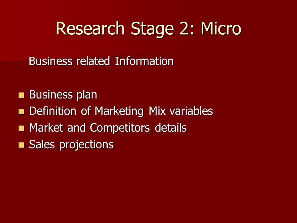 Research Stage 2: Micro Business related Information Business related Information Business plan Business plan Definition of Marketing Mix variables Definition of Marketing Mix variables Market and Competitors details Market and Competitors details Sales projections Sales projections