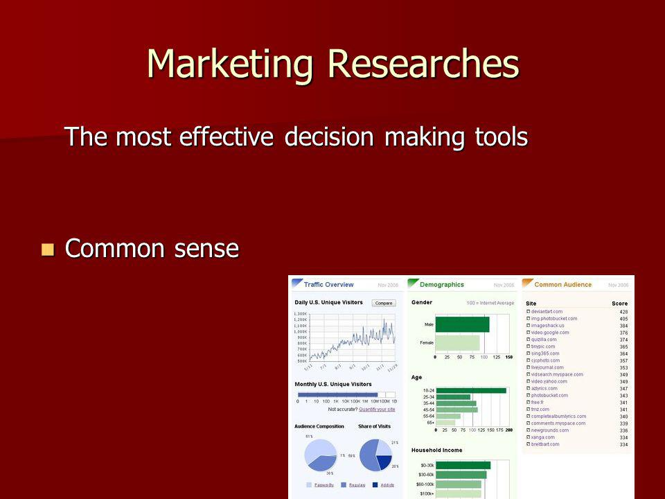 Marketing Researches The most effective decision making tools The most effective decision making tools Common sense Common sense