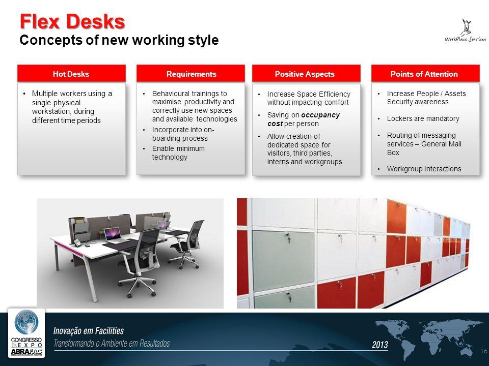 Flex Desks Flex Desks Concepts of new working style 16 Hot Desks Requirements Positive Aspects Points of Attention Multiple workers using a single physical workstation, during different time periods Behavioural trainings to maximise productivity and correctly use new spaces and available technologies Incorporate into on- boarding process Enable minimum technology Behavioural trainings to maximise productivity and correctly use new spaces and available technologies Incorporate into on- boarding process Enable minimum technology Increase Space Efficiency without impacting comfort Saving on occupancy cost per person Allow creation of dedicated space for visitors, third parties, interns and workgroups Increase Space Efficiency without impacting comfort Saving on occupancy cost per person Allow creation of dedicated space for visitors, third parties, interns and workgroups Increase People / Assets Security awareness Lockers are mandatory Routing of messaging services – General Mail Box Workgroup Interactions Increase People / Assets Security awareness Lockers are mandatory Routing of messaging services – General Mail Box Workgroup Interactions