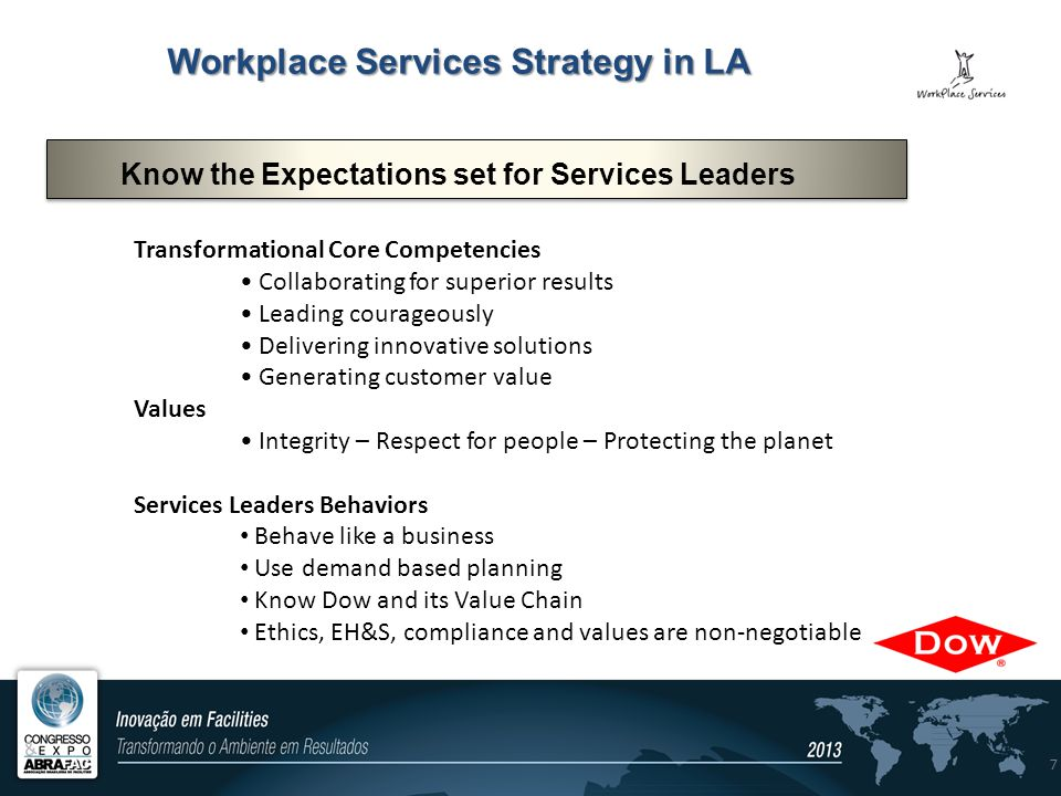 7 Transformational Core Competencies Collaborating for superior results Leading courageously Delivering innovative solutions Generating customer value Values Integrity – Respect for people – Protecting the planet Services Leaders Behaviors Behave like a business Use demand based planning Know Dow and its Value Chain Ethics, EH&S, compliance and values are non-negotiable Know the Expectations set for Services Leaders Workplace Services Strategy in LA