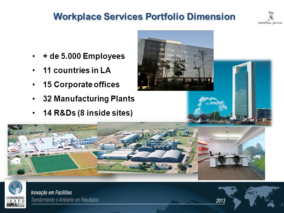 Workplace Services Portfolio Dimension + de 5.000 Employees 11 countries in LA 15 Corporate offices 32 Manufacturing Plants 14 R&Ds (8 inside sites) 8