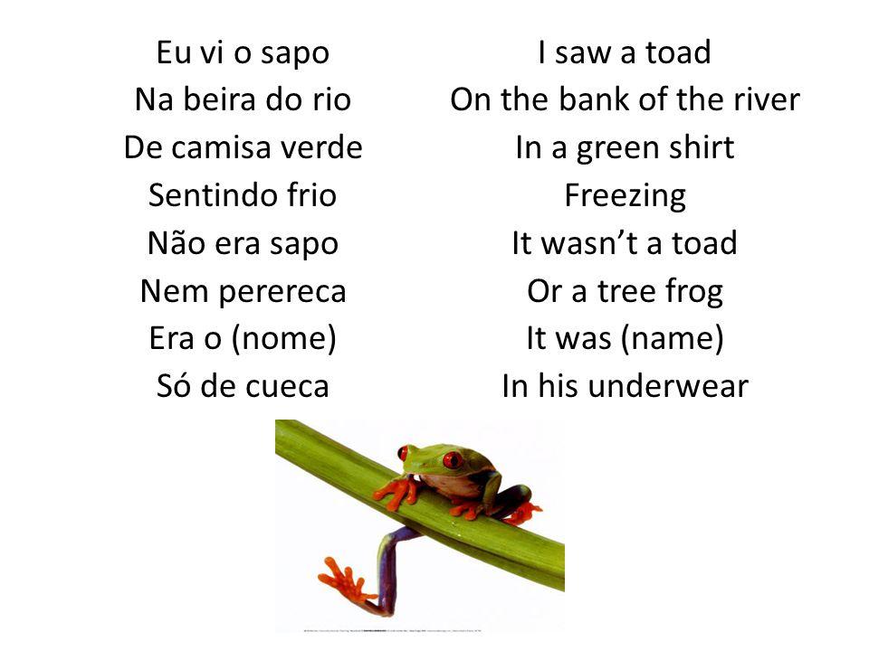 Eu vi o sapo Na beira do rio De camisa verde Sentindo frio Não era sapo Nem perereca Era o (nome) Só de cueca I saw a toad On the bank of the river In a green shirt Freezing It wasn't a toad Or a tree frog It was (name) In his underwear