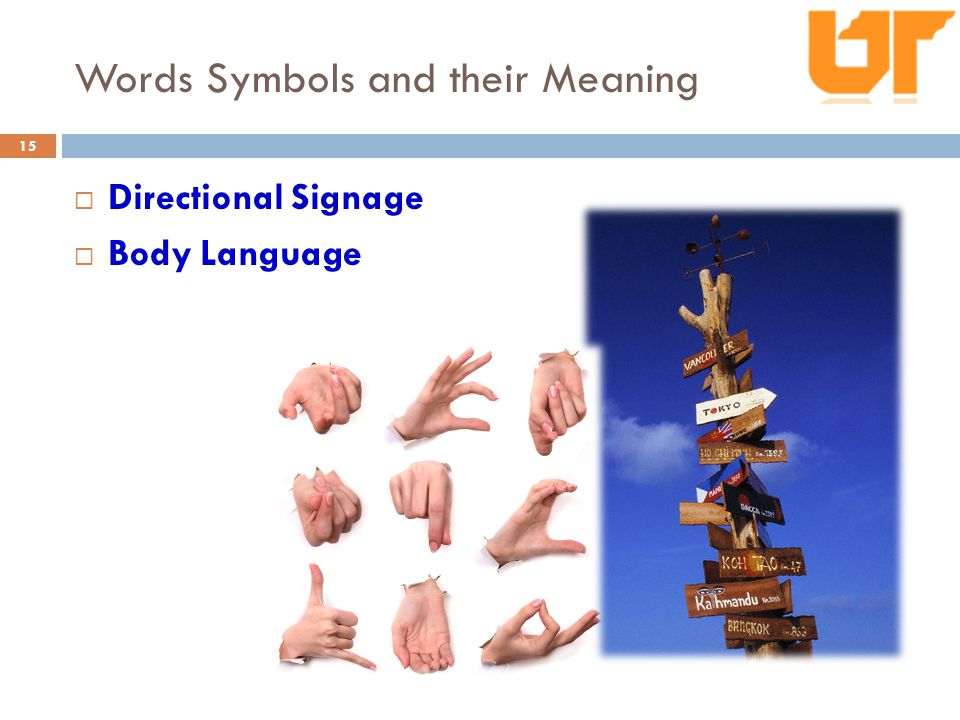 Words Symbols and their Meaning  Directional Signage  Body Language 15