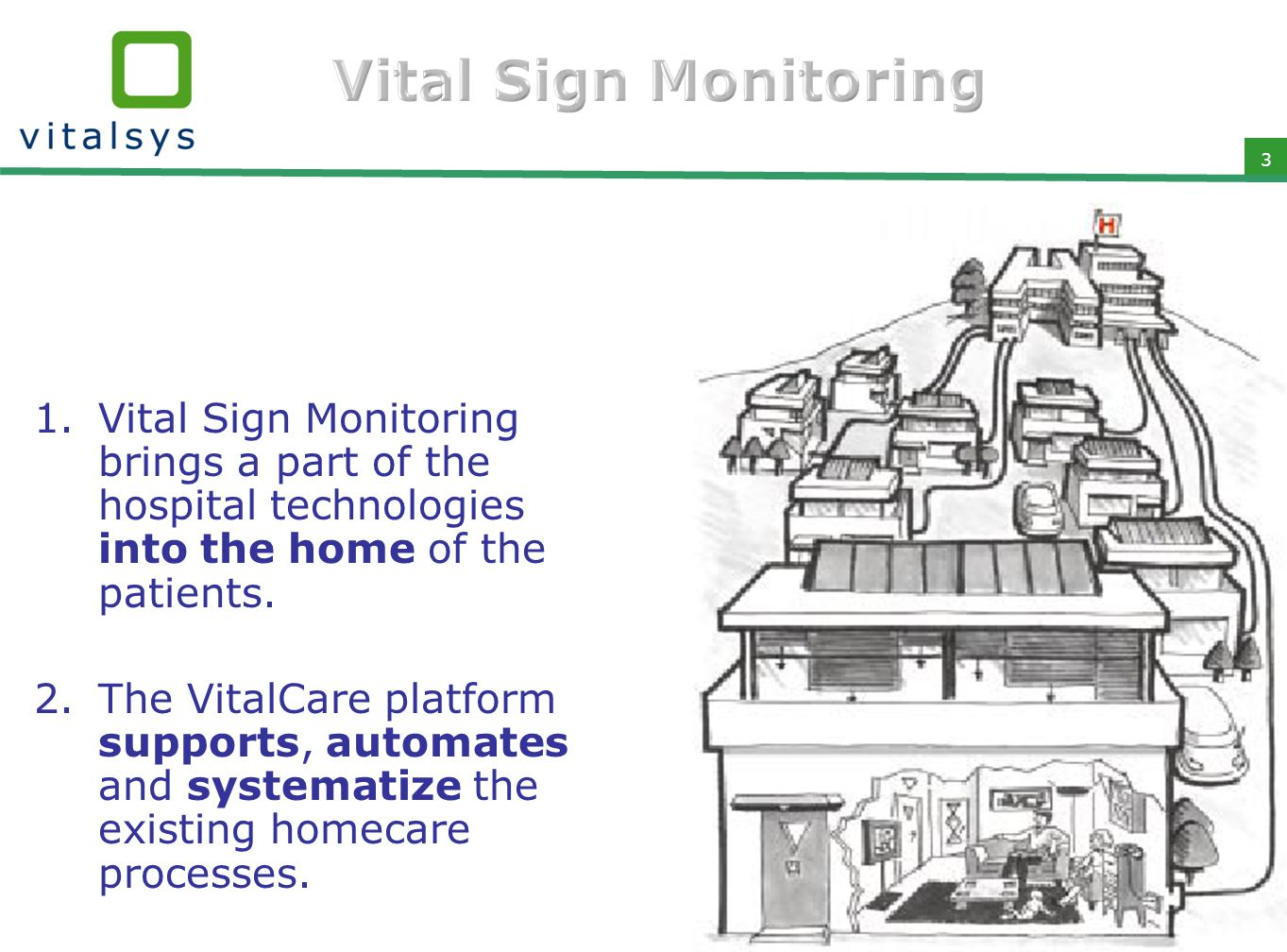 3 1.Vital Sign Monitoring brings a part of the hospital technologies into the home of the patients. 2.The VitalCare platform supports, automates and s