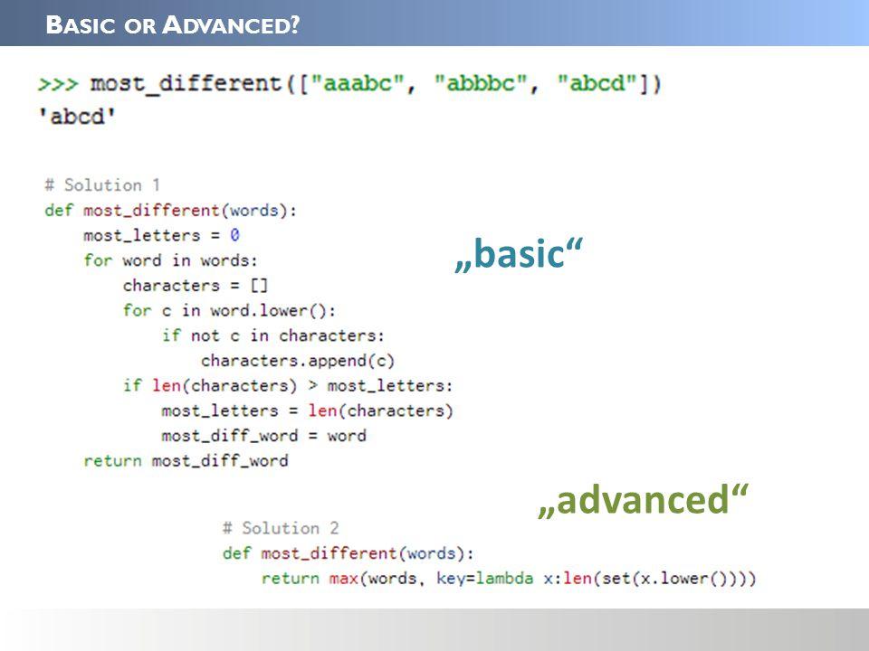 "B ASIC OR A DVANCED ""basic ""advanced"