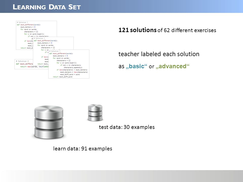"L EARNING D ATA S ET 121 solutions of 62 different exercises teacher labeled each solution as ""basic or ""advanced learn data: 91 examples test data: 30 examples"