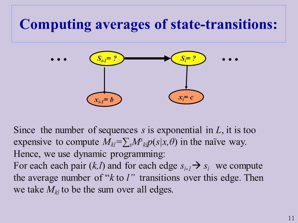 11 Computing averages of state-transitions: Since the number of sequences s is exponential in L, it is too expensive to compute M kl =∑ s M s kl p(s|x,θ) in the naïve way.