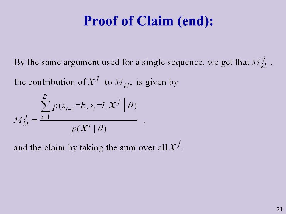 21 Proof of Claim (end):