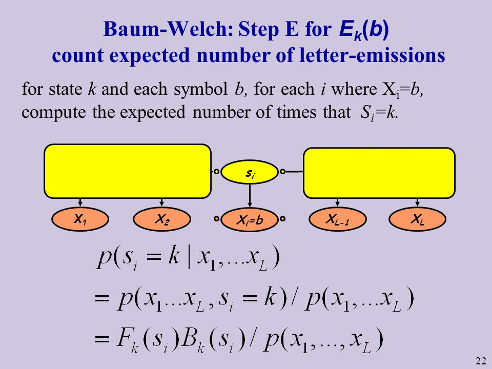 22 Baum-Welch: Step E for E k (b) count expected number of letter-emissions for state k and each symbol b, for each i where X i =b, compute the expected number of times that S i =k.