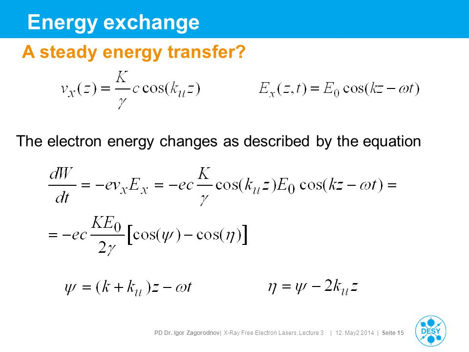 PD Dr. Igor Zagorodnov| X-Ray Free Electron Lasers. Lecture 3 | 12. May2 2014 | Seite 15 Energy exchange A steady energy transfer? The electron energy