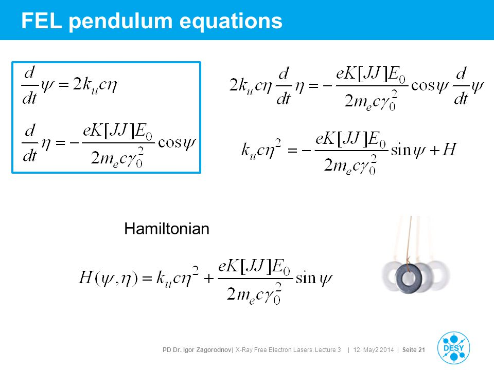 PD Dr. Igor Zagorodnov| X-Ray Free Electron Lasers. Lecture 3 | 12. May2 2014 | Seite 21 FEL pendulum equations Hamiltonian