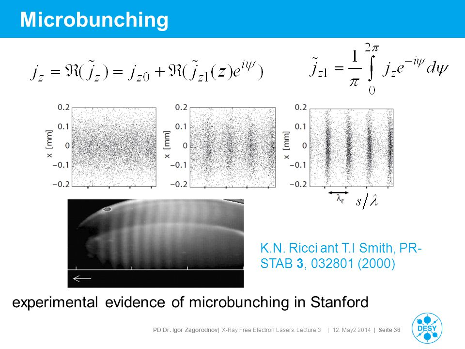 PD Dr. Igor Zagorodnov| X-Ray Free Electron Lasers. Lecture 3 | 12. May2 2014 | Seite 36 Microbunching experimental evidence of microbunching in Stanf