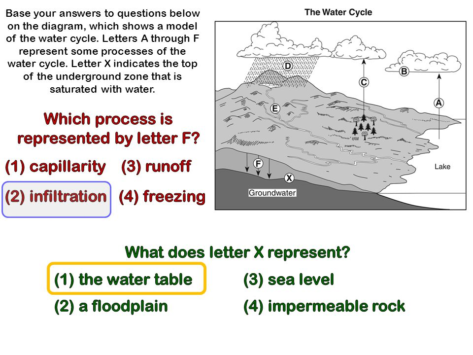 Base your answers to questions below on the diagram, which shows a model of the water cycle. Letters A through F represent some processes of the water