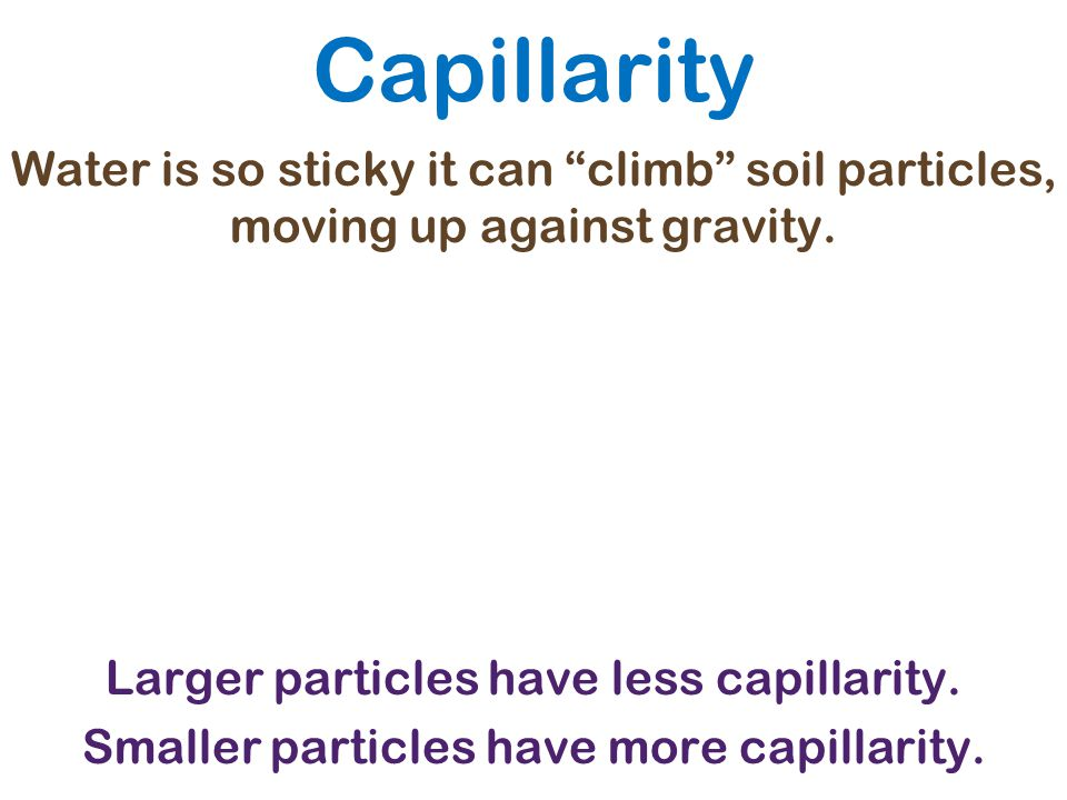 """Capillarity Water is so sticky it can """"climb"""" soil particles, moving up against gravity. Larger particles have less capillarity. Smaller particles hav"""