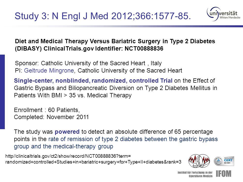 Institut für Forschung in der Operativen Medizin IFOM Study 3: N Engl J Med 2012;366:1577-85.