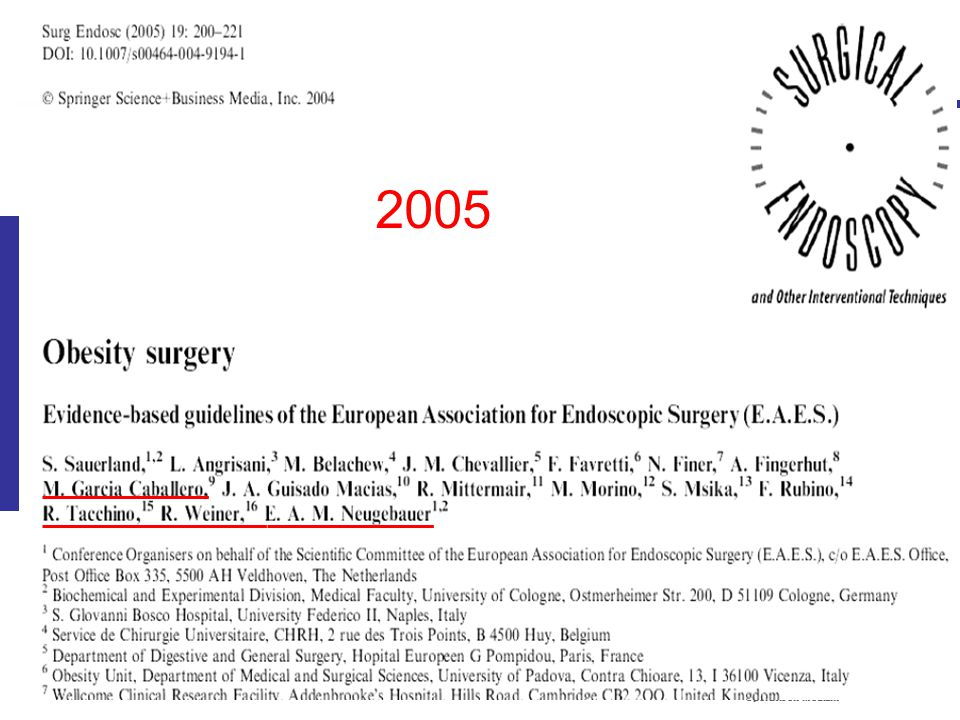 Institut für Forschung in der Operativen Medizin IFOM Evidence based Guidelines of the EAES on Obesity Surgery 2005 Recommendation: