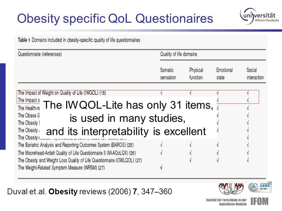 Institut für Forschung in der Operativen Medizin IFOM Obesity specific QoL Questionaires Duval et.al. Obesity reviews (2006) 7, 347–360 The IWQOL-Lite