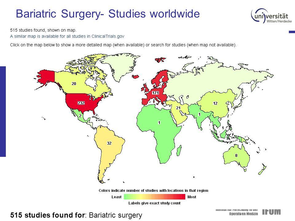 Institut für Forschung in der Operativen Medizin IFOM Bariatric Surgery- Studies worldwide 515 studies found for: Bariatric surgery