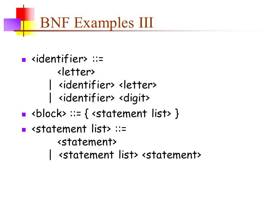 BNF Examples III ::= | | ::= { } ::= |