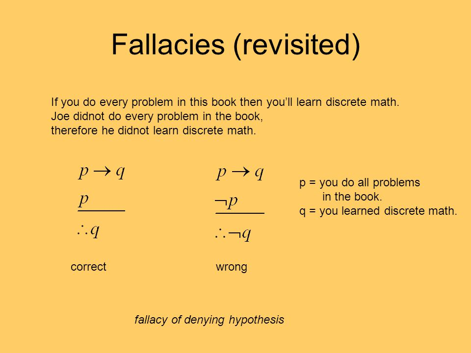 Fallacies (revisited) If you do every problem in this book then you'll learn discrete math.