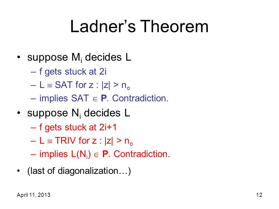 April 11, 201312 Ladner's Theorem suppose M i decides L –f gets stuck at 2i –L  SAT for z : |z| > n o –implies SAT  P. Contradiction. suppose N i de