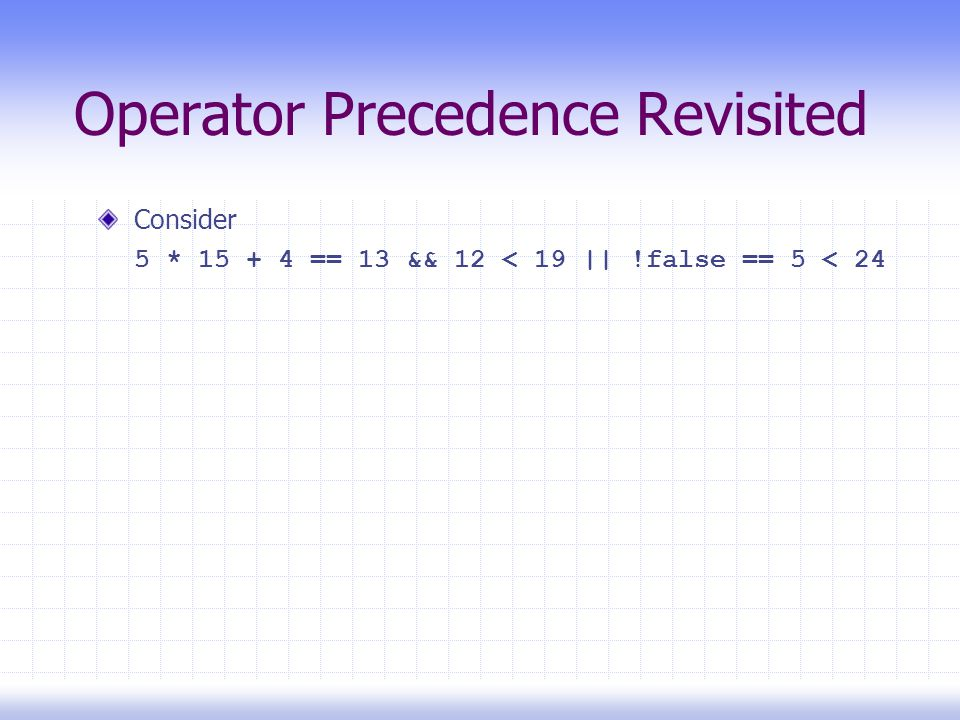 Operator Precedence Revisited Consider 5 * 15 + 4 == 13 && 12 < 19 || !false == 5 < 24