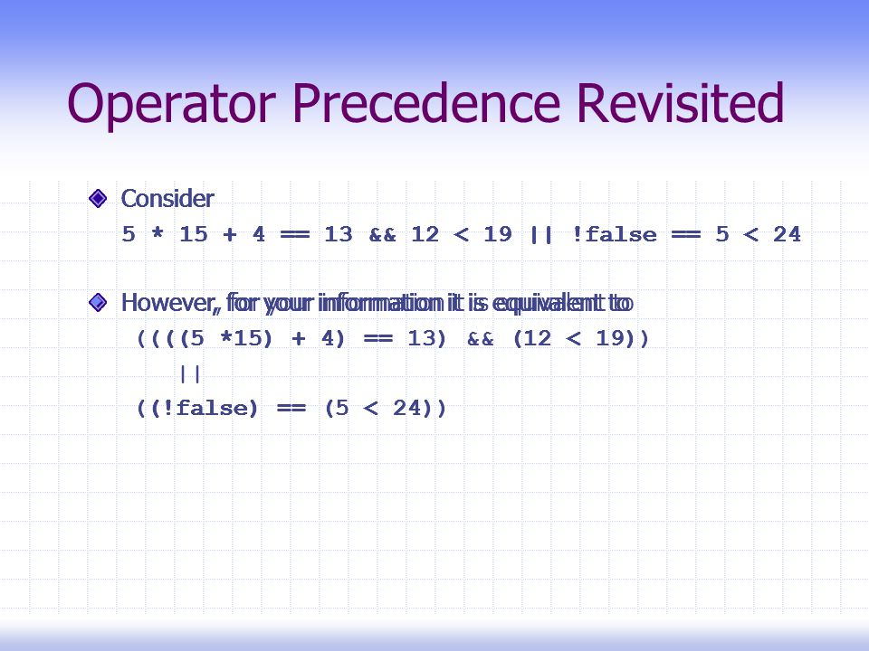 Operator Precedence Revisited Consider 5 * 15 + 4 == 13 && 12 < 19 || !false == 5 < 24 However, for your information it is equivalent to ((((5 *15) + 4) == 13) && (12 < 19)) || ((!false) == (5 < 24)) Consider 5 * 15 + 4 == 13 && 12 < 19 || !false == 5 < 24 However, for your information it is equivalent to ((((5 *15) + 4) == 13) && (12 < 19)) || ((!false) == (5 < 24)) Consider 5 * 15 + 4 == 13 && 12 < 19 || !false == 5 < 24 However, for your information it is equivalent to ((((5 *15) + 4) == 13) && (12 < 19)) || ((!false) == (5 < 24)) Consider 5 * 15 + 4 == 13 && 12 < 19 || !false == 5 < 24 However, for your information it is equivalent to ((((5 *15) + 4) == 13) && (12 < 19)) || ((!false) == (5 < 24)) Consider 5 * 15 + 4 == 13 && 12 < 19 || !false == 5 < 24 However, for your information it is equivalent to ((((5 *15) + 4) == 13) && (12 < 19)) || ((!false) == (5 < 24)) Consider 5 * 15 + 4 == 13 && 12 < 19 || !false == 5 < 24 However, for your information it is equivalent to ((((5 *15) + 4) == 13) && (12 < 19)) || ((!false) == (5 < 24)) Consider 5 * 15 + 4 == 13 && 12 < 19 || !false == 5 < 24 However, for your information it is equivalent to ((((5 *15) + 4) == 13) && (12 < 19)) || ((!false) == (5 < 24)) Consider 5 * 15 + 4 == 13 && 12 < 19 || !false == 5 < 24 However, for your information it is equivalent to ((((5 *15) + 4) == 13) && (12 < 19)) || ((!false) == (5 < 24)) Consider 5 * 15 + 4 == 13 && 12 < 19 || !false == 5 < 24 However, for your information it is equivalent to ((((5 *15) + 4) == 13) && (12 < 19)) || ((!false) == (5 < 24)) Consider 5 * 15 + 4 == 13 && 12 < 19 || !false == 5 < 24  However, for your information it is equivalent to