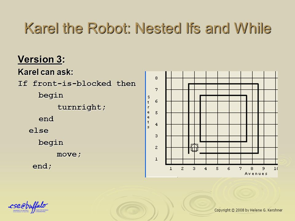 Karel the Robot: Nested Ifs and While Version 3: Karel can ask: If front-is-blocked then begin begin turnright; turnright; end endelse begin begin mov