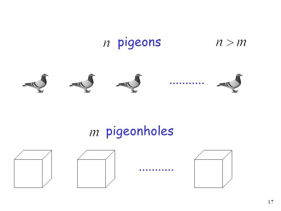 17........... pigeons pigeonholes