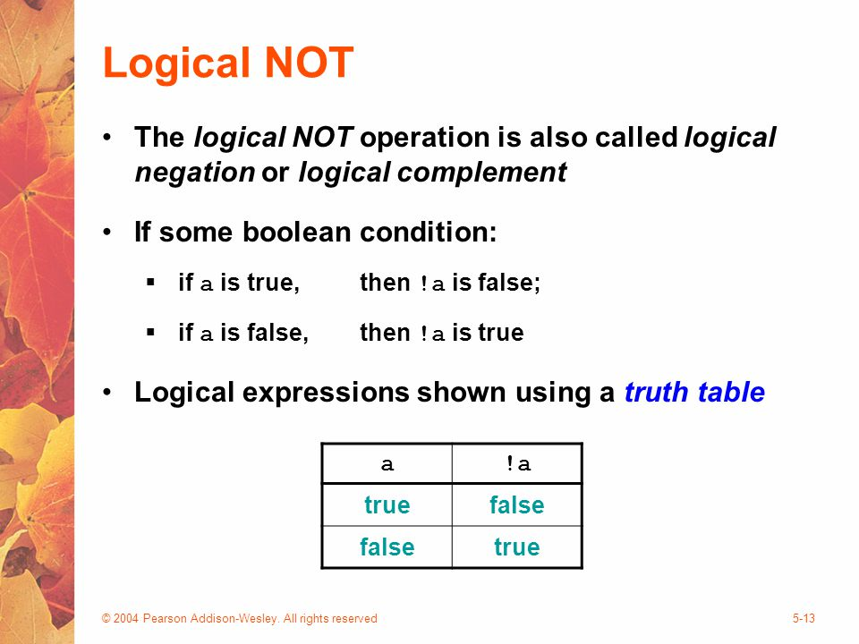© 2004 Pearson Addison-Wesley. All rights reserved5-13 Logical NOT The logical NOT operation is also called logical negation or logical complement If