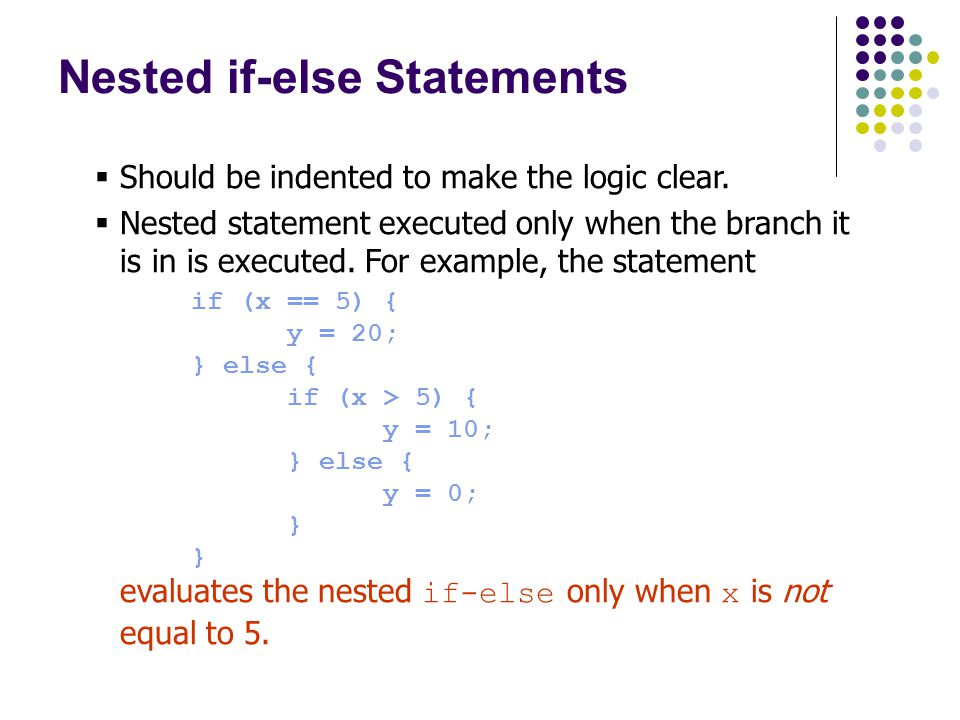 Should be indented to make the logic clear.  Nested statement executed only when the branch it is in is executed. For example, the statement if (x